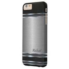 Stylish Stainless Steel Metal with Leather Look Barely There iPhone 6 Plus Case