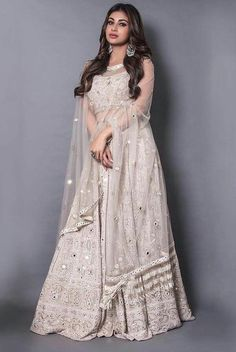 Indian Gowns Dresses, Indian Fashion Dresses, Indian Designer Outfits, Pakistani Dresses, Designer Dresses, Designer Wear, Girls Dresses, Mirror Work Lehenga, Mirror Work Dress