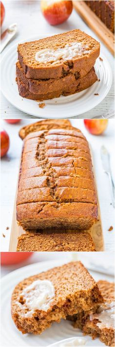 Cinnamon Spice Applesauce Bread with Honey Butter - Applesauce keeps this bread so soft, moist and healthier! It's like apple spice cake, disguised as 'bread' so you can have extra!