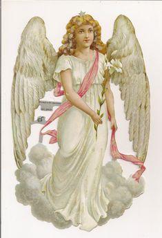 German Victorian Style Embossed Scrap Die Cut Easter Christmas Angel EF7086