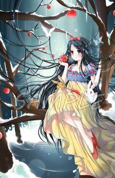 The Fairest One of All by Ayasal on DeviantArt - Disney as anime Anime Chibi, Kawaii Anime, Manga Anime, Anime Art, Cartoon As Anime, Anime Wolf, Female Anime, Anime Meme, Girl Cartoon