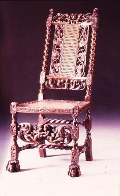 From a Design by Daniel Marot  a Dutch French Huguenot   Caned side chair, circa 1689. Unknown maker. England. Carved beech and caneid-