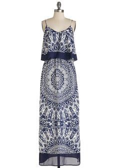 Chill Me In Dress. Give everyone the scoop on effortless, boho-chic beauty as you stroll along the boardwalk in this navy-blue and white maxi.  #modcloth