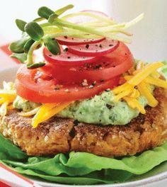 Chickpea & Sweet Potato Burger with Avocado Yogurt Sauce