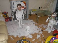 20 Messy Kids Who Are In Sooo Much Trouble: Paint it white