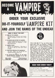 """gothiccharmschool: """" skarrin: """" zgmfd: """" """"Do-It-Yourself Vampire Kit"""" Horror…"""