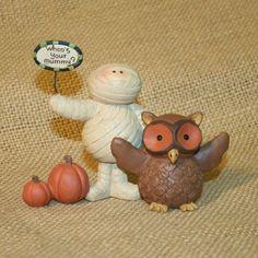 Whoo's Your Mummy Owl Blossom Bucket Resin Figurine Halloween Suzi Skoglund #BlossomBucket
