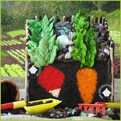 A fun chocolate veggie garden cake with the picture running through each slice.