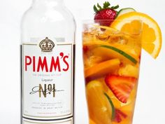 """The standard Pimm's cup is made by mixing Pimm's with """"white lemonade"""" (a.k.a. Sprite or 7-Up) along with chopped fruit and ice."""