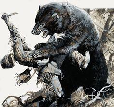 mountain men prints | Hugh Glass being savaged by a bear (Original) art by Severino Baraldi