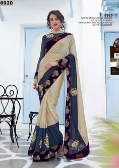 You look so charming wearing this attire. Style and trend will be at the peak of your beauty when you attire this beige and blue lycra designer saree. Beautified with embroidered and patch border work all synchronized well with the pattern and design of the attire. Comes with matching blouse. (Slight variation in color, fabric & work is possible. Model images are only representative.)