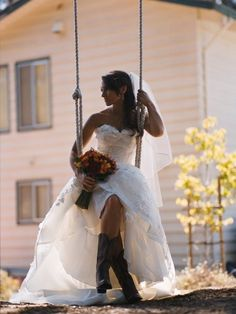 Cowgirl boots and a wedding dress.. my style :)