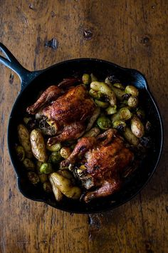 These cranberry bbq sauce cornish hens are perfectly roasted and served with fingerling potatoes and Brussels sprouts. This is one skillet deliciousness!