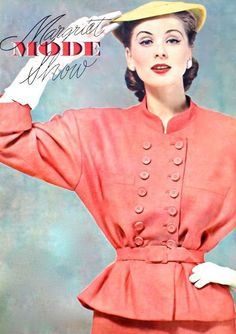 "fashion-of-the-60s: ""Suzy Parker modeling for Margriet Mode Show (dutch), Spring/Summer 1952. (x) """