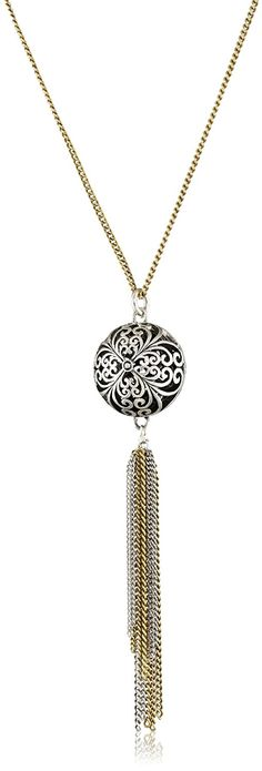 Lucky Brand Women's Silver Openwork Tassle Necklace Two Tone Pendant Necklace >>> Tried it! Love it! Click the image.
