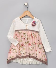 #fall Take a look at this Ivory Sidetail Dress - Infant, Toddler & Girls by Banana Split by Hannah Banana on #zulily today!