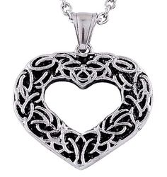 Substance to it. Heart Pendant scroll. scroll design around the heart. Stainless Steel with chain. large heart pendant. Stainless Steel base. with chain Lovely. also comes in.   eBay!