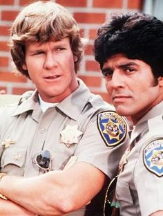 "Larry Wilcox and Erik Estrada as California Highway Patrol Officers Jonathan A. Baker and Francis (Frank) Llewelyn ""Ponch"" Poncherella in ""CHiPs"". 80 Tv Shows, Best Tv Shows, Favorite Tv Shows, Movies And Tv Shows, Larry Wilcox, Mejores Series Tv, Cinema Tv, Vintage Television, Vintage Tv"