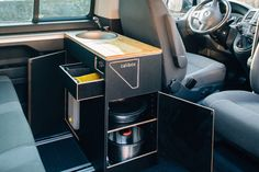 Kitchen module behind the driver's seat of the VW California Beach - Van Life Vw T5, T3 Vw, Volkswagen, Mini Camper, Camper Life, Camper Van, Truck Camper, Interior Trailer, Van Interior