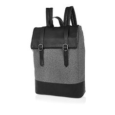 Grey roll top satchel backpack - backpacks - bags - men