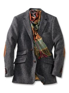 Sakko aus Harris Tweed in Anthrazit Blazer made of Harris Tweed in anthracite Mens Stitch Fix, Capsule Wardrobe Work, Fall Fashion Trends, Fashion Bloggers, Herren Outfit, Weekend Style, Elegant Outfit, Gentleman Style, Sport Coat