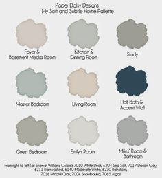 Whole house color palette, Paper Daisy Designs. Click through to see colors in rooms.
