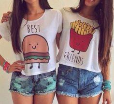 Best friends Burger & French Fries, $19 #kawaii #cute #tshirts