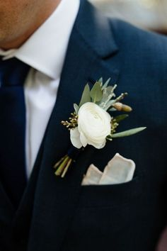 Andy likes the white flower if matches Classic white boutonniere with navy suit by La Rue Floral, Photography By Louie Abellera Weddings Groomsmen Boutonniere, Corsage And Boutonniere, Boutonnieres, Ranunculus Boutonniere, Wedding Boutonniere, Vintage Boutonniere, Wedding Buttonholes, Groom Buttonholes, Ranunculus Wedding