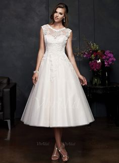 Vestidos de novia - $160.31 - Corte A/Princesa Escote redondo Hasta la tibia Satén Tul Vestido de novia con Los appliques Encaje (0025058524)