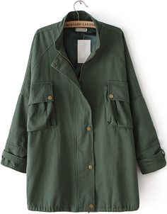 Army Green Stand Collar Long Sleeve Pockets Outerwear - Sheinside.com