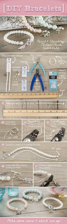 DIY Pearl Bracelet Jewelry using Charm Gallery charms available at @Michaels Stores