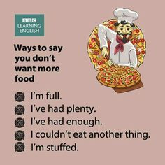 Ways to say you don't want more food - Expressions for when you've eaten enough (and don't forget to thank whoever is offering you food) English Learning Spoken, Learn English Grammar, Learn English Words, English Language Learning, Teaching English, English Sentences, English Vocabulary Words, English Phrases, English Idioms