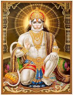 Shree Hanumanji / Lord Hanuman / Blessing Lord Hanuman Poster 12 x 18 inch Rolled -- Awesome products selected by Anna Churchill Hanuman Hd Wallpaper, Lord Hanuman Wallpapers, Ganesha, Hanuman Images Hd, Hanuman Chalisa, Hanuman Pics, Baba Image, Hindu Deities, Hinduism