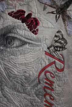 This metre square quilt is a digital print on cotton poplin fabric. It was made from several of my pencil drawings in combination with photographic images of moths. Textile Fiber Art, Textile Artists, Quilting Board, Art Quilting, Quilt Art, Quilting Ideas, Fabric Painting, Fabric Art, Crow Art