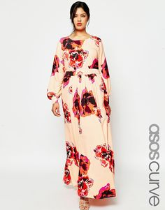 Image 1 of ASOS CURVE Kaftan Maxi Dress with Keyhole in Floral Print