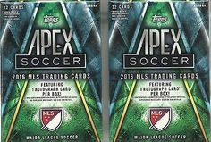 (2) 2016 Topps APEX Soccer MLS Trading Cards Sealed Value Box LOT = 1 Auto/box