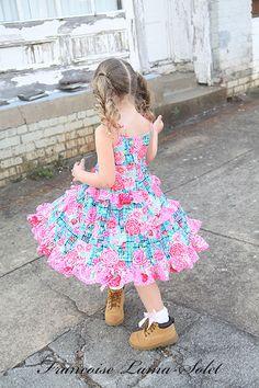 Niñas vestido de volantes personalizados molinete vestido