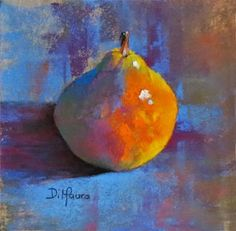 """fresh off my dusty easel, pastels by christine dimauro: Bartlett Pear #6, Pears Squared Series, 6"""" x 6"""" Pastel"""
