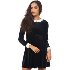 Lucca Couture Killer Wednesday Skater Dress - Black ($85) ❤ liked on Polyvore featuring dresses, black, black collared dress, black baby doll dress, baby doll dress, mini dress and long sleeve skater dress