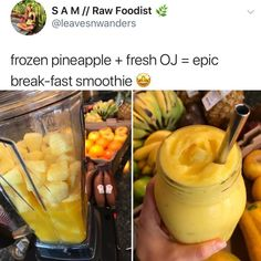 Frozen pineapple fresh oj epic break fast smoothie popular memes on the site ifunny co breakfastsmoothie 25 heart healthy recipes Yummy Drinks, Healthy Drinks, Healthy Snacks, Yummy Food, Healthy Recipes, Tasty, Easy Smoothie Recipes, Easy Smoothies, Smoothie Drinks
