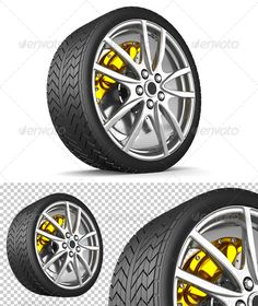 Alloy Wheel by rzymu Sport tire with silver rims and yellow brake on white background. Files included:1 jpg file 50003700 1 png files without backgroun