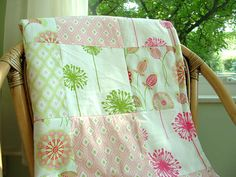 Custom Baby Bedding - Quilted Blanket, modern Baby Bedding -  - Fuchsia, Watermelon Pink, Lime and Red by HappyMae on Etsy https://www.etsy.com/listing/164249788/custom-baby-bedding-quilted-blanket