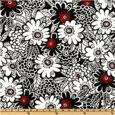 Black & Red floral for the office - $7.63/yd on sale at Fabric.com. Michael Miller Zesty Zinnia