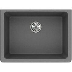 Elkay Quartz Classic ELGU2522GS0 Undermount Sink Steel Kitchen Sink, Single Bowl Kitchen Sink, Stainless Steel Kitchen, Composite Kitchen Sinks, Composite Sinks, Sink Drain, Undermount Sink, Shades Of Black, Gourmet