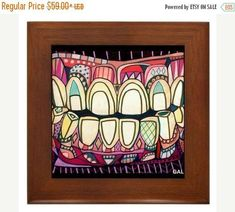 Smile Tooth Dental Dentistry Dentist Folk Art Ceramic Framed Tile by Heather Galler - R. Teeth Smile Tooth Dental Dentistry Dentist Folk Art C Dental Anatomy, Teeth Dentist, Emergency Dentist, Dental Art, Ceramic Coasters, Anatomy Art, Panel Art, City Art, Framed Art