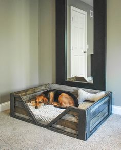 DIY Dog Beds - DIY Rustic Dog Bed - Projects and Ideas for Large, Medium and Small Dogs. Cute and Easy No Sew Crafts for Your Pets. Pallet, Crate, PVC and End Table Dog Bed Tutorials for dogs diy Rustic Dog Beds, Pallet Dog Beds, Wooden Dog Beds, Pallet Couch, Wooden Dog House, Rustic Bed Frames, Bed Frame Pallet, Rustic Dog Houses, Farmhouse Dog Beds