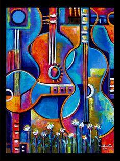 Abstract Original Impasto Acrylic Painting Guitars by MarlinaVera