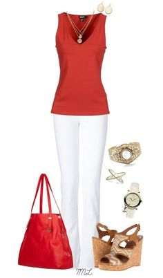 Love the fit and color of this top.  Looks good with the white pants. And they aren't skinny jeans!