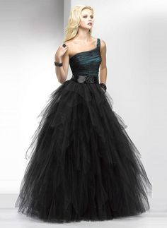 one shoulder black ball gown