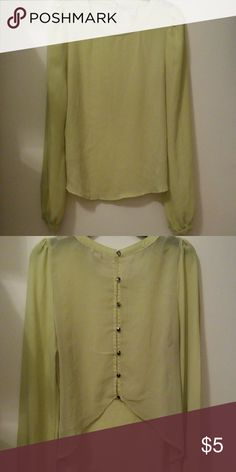 Forever 21 Sheer Blouse... Light yellow that is high in the front and lower in the back.. The back had silver buttons up the back.. Forever 21 Tops Blouses